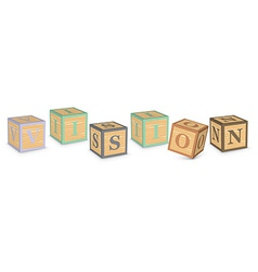 Word vision written with alphabet blocks vector