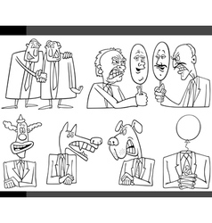 Cartoon politics concepts set vector