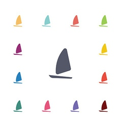 Sail boat flat icons set vector