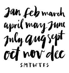 Calendar calligraphy months vector