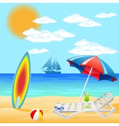 Set from beach on sea vector