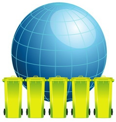 Earth globe with garbage binconcept of environmen vector