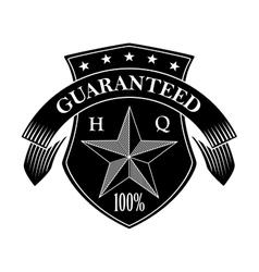 Retro guarantee label in black and white colors vector