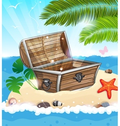 Treasure chest on sandy island vector