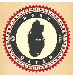 Vintage label-sticker cards of qatar vector