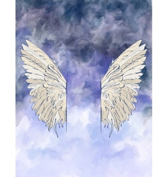 Watercolor background with wings vector