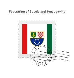 Federation of bosnia and herzegovina flag postage vector