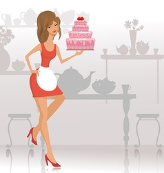 Beautiful woman with a cake in the restaurant vector