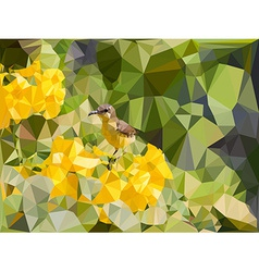Low poly geometric of little bird on yellow flower vector