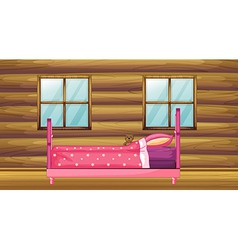 Pink bed in wooden room vector