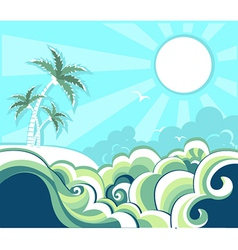 Retro nature tropical seascape vector