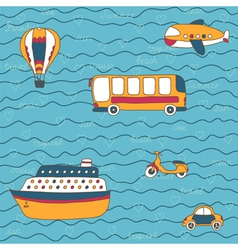 Summer travel design hand drawn transport vector