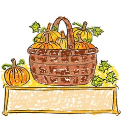 Basket with pumpkins vector