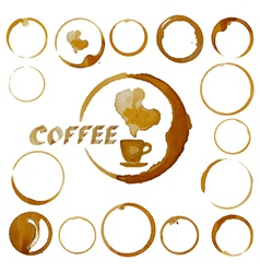 Coffee cup stains coffee blots isolated on white vector
