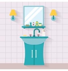 Bathroom sink with mirror vector