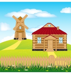 Wind mill on hill vector