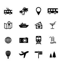 Set of flat icons - holiday travel and tourism vector