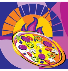 Pizza out oven vector