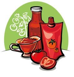 Tomato sauce and ketchup vector