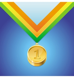 Golden medal with number first vector
