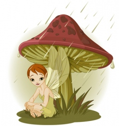 Fairy under mushroom vector
