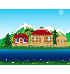 Village beside yard vector
