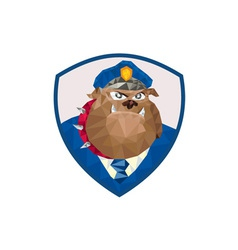 Bulldog policeman shield low polygon vector