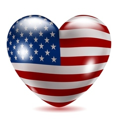 Heart shaped icon with flag of usa vector