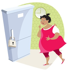 Dieting lady and fridge vector