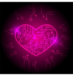 Pink circuit heart background vector