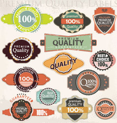 Retro premium quality label collection set vector