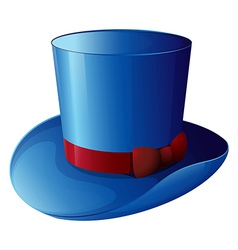 A blue hat with a red ribbon vector