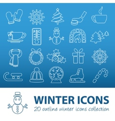 Winter outline icons vector