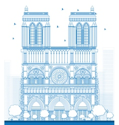Outline notre dame cathedral vector