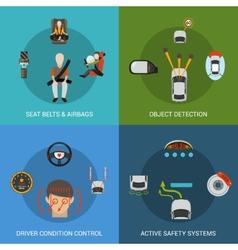 Car safety system set vector