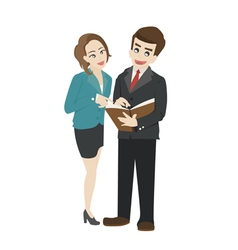 Business people reading a document together vector