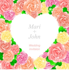 Wedding invitation with a pretty roses vector
