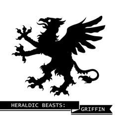 Black heraldic griffin vector