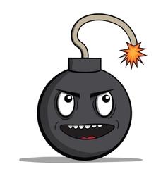 Funny evil cartoon bomb ready to explode vector