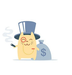 Character rich gentleman in a hat-cylinder and a vector