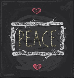 Vintage christmas peace chalkboard hand drawn set vector