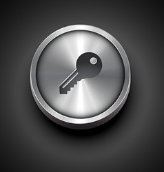 Metallic key icon vector