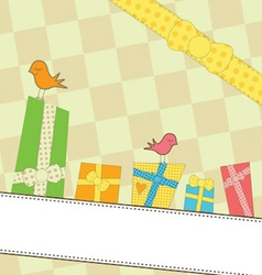 Sweet colorful gifts on a banner vector