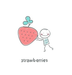 Man and strawberries vector