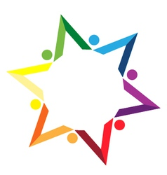Teamwork color books star logo vector
