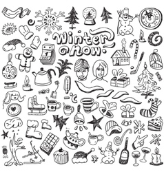 Winter  christmas symbols - doodles set vector