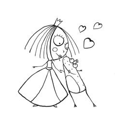 Baby princess and prince frog kissing coloring vector