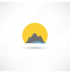 Mountains in the sun symbol vector