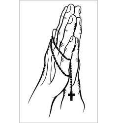 Praying with a rosary vector