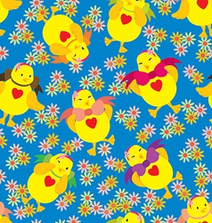 Happy chick pattern vector